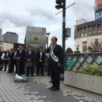 上田参議院議員候補が川口駅東口コンコースに来ています。